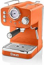 Swan Retro Pump Espresso Coffee Machine, Orange,