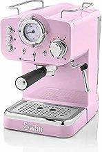 Swan Retro Pump Espresso Coffee Machine, Pink, 15