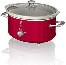 Swan Retro Red 3.5 Litre Slow Cooker, 3