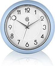 Swan SWC1010BLN Retro Wall Clock, Blue, One Size