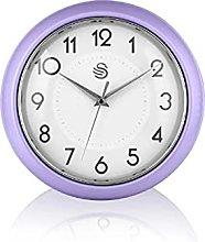 Swan SWC1010PURN Retro Wall Clock, Purple, One Size