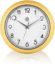 Swan SWC1010YELN Retro Wall Clock, Yellow, One Size