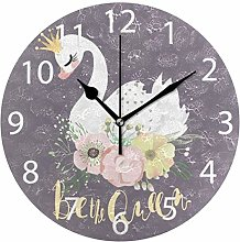 Swan with Floral Round Wall Clock, Silent