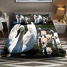 Swans Family Baby Lake Waterfowl 3pcs Duvet Cover