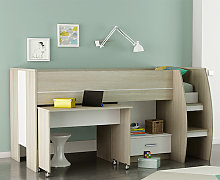 Swatch Bunk Bed With Desk In Shannon Oak And Pearl