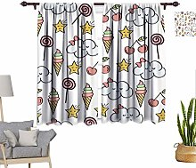 Sweet Decor Window Curtains, Doodle Pattern with