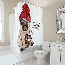 Sweet Luck Christmas Dog Shower Curtain,
