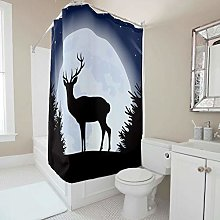 Sweet Luck Christmas Elk Moon Shower Curtain