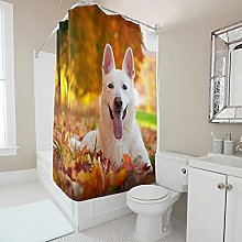 Sweet Luck Dog Maple Leaf Shower Curtain