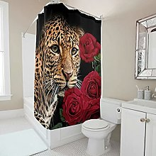 Sweet Luck Leopard Roses Shower Curtain,