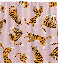 Sweet Luck Tiger Animals Shower Curtain Anti-Mould