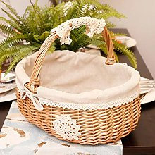 Swide Wicker Storage Basket With Handle Rattan