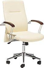 Swivel Faux Leather Office Chair Beige ELECT