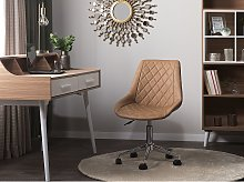 Swivel Office Chair Brown with Silver Base Faux