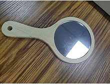 SWOJG Natural Wood Mirror Wooden Hand Mirror Vintage Portable Compact Makeup Vanity Cosmetic Wooden Handheld Mirror for Women Travel
