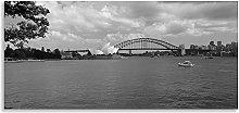 Sydney Harbour Bridge Art Seascape Black White