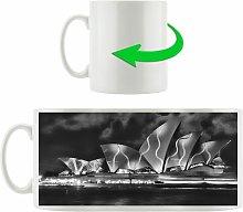 Sydney Opera House Green Lighting Coffee Mug East