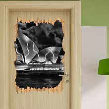 Sydney Opera House Green Lighting Wall Sticker