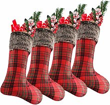 Syhood 4 Pieces 20 Inch Large Plaid Christmas