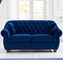 Sylvan Chesterfield Fabric 2 Seater Sofa In Blue