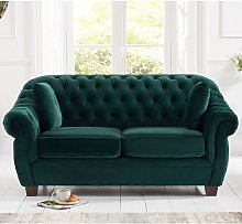 Sylvan Chesterfield Fabric 2 Seater Sofa In Green