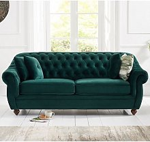Sylvan Chesterfield Fabric 3 Seater Sofa In Green