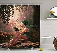 SYLZBHD Shower Curtain Girl with Wings and