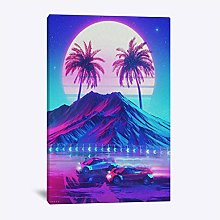 Synthwave Retro Electro Poster Wall Art Canvas for