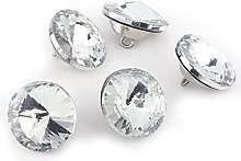 SYWAN 100Pcs Clear Crystal Upholstery Buttons