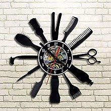 szhao Barbershop Vinyl Record Wall Clock Modern