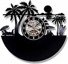 szhao Beach Views Vinyl Record Clock 3D Decorative