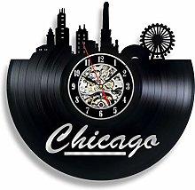 szhao Chicago Vinyl Record Wall Clock Modern