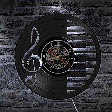 szhao Music notes vinyl record wall clock elegant