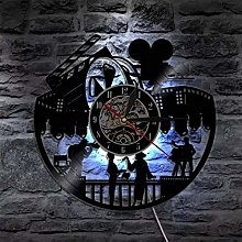 szhao Vinyl Record Wall Clock with LED Lighting
