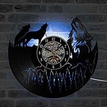 szhao Wolf Model Vinyl Record Wall Clock Modern