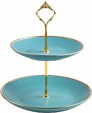 SZQ-Dome Cake Stand Double Layer Ceramic Cake