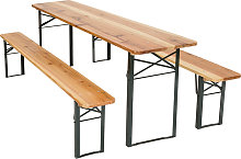Table and bench set 3-piece - brown