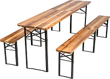 Table and bench set, foldable 3-piece 219cm - brown