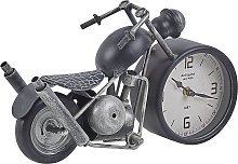 Table Clock Black and Silver Vintage Motorcycle