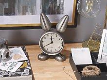 Table Clock Bunny-Shaped Metal Silver Modern