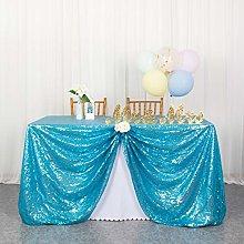 Table Cloths Sequin Tablecloth Aqua Blue Payette