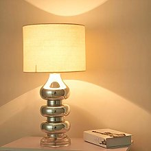 Table Lamp Bedroom Metal Fabric Bedside Light E27