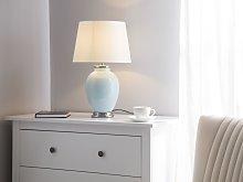 Table Lamp Bedside Light Blue Ceramic Base White