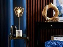 Table Lamp Bedside Light Brass Metal Diamond Cage