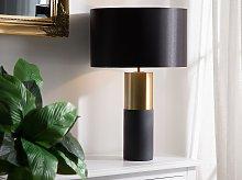Table Lamp Bedside Light Grey Round Base Black