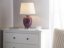 Table Lamp Bedside Light Purple Ceramic Base White