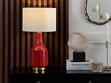 Table Lamp Bedside Light Red Ceramic Base