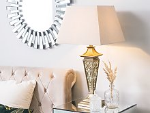 Table Lamp Beige Synthetic Material Base with