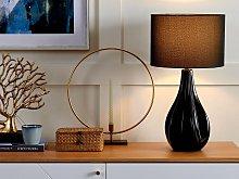 Table Lamp Black Porcelain Faux Silk Drum Shade