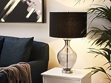 Table Lamp Blue and Black Glass Fabric 70 cm